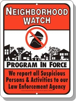 Red Neighborhood Watch Sign